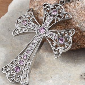 Jewelry - Simulated Pink Diamond Cross Necklace